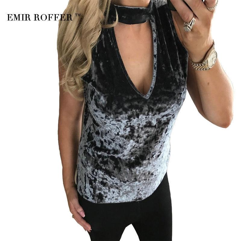 EMIR ROFFER 2018 Fashion Female Velvet Top Sexy Deep V Neck Halter Sleeveless Tank Top Women Party Spring Summer Clothes Femme