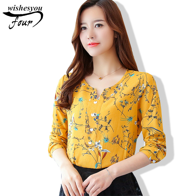 99a432ed076795 2018 New Arrival Fashion Spring and Autumn Korean Fresh Ladies Long Sleeved  Blouse Female Casual Printed