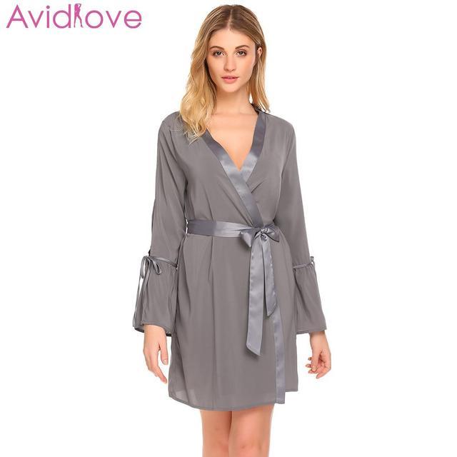 f2a0c15aaa4 Avidlove Sleepwear Dress Homewear Nightdress Robe Sexy Hollow Sleeve V Neck  Back Women Sleep Out Robe Flare Split Sleepwear