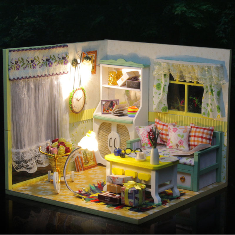 D017 Hongda Diy Dollhouse Miniature Room Wooden Doll House With Lights And Dust Doll Houses