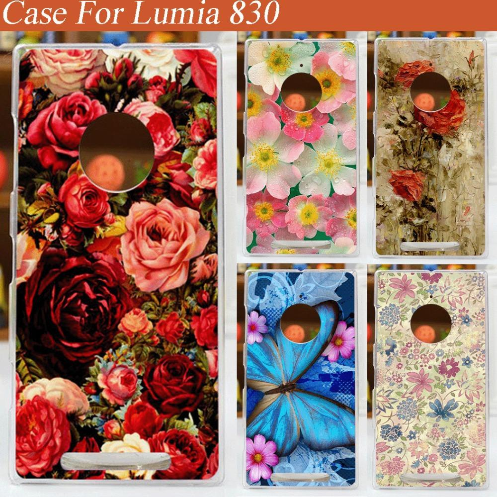 hot 14 patterns colorful flowers case for nokia lumia 830/diy ...