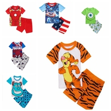 2016 Summer Children Cartoon Pyjamas Clothing Sets Boys Girls Short Sleeve Tops+Pants Suit Baby Kids Pajamas Set for 2-7T