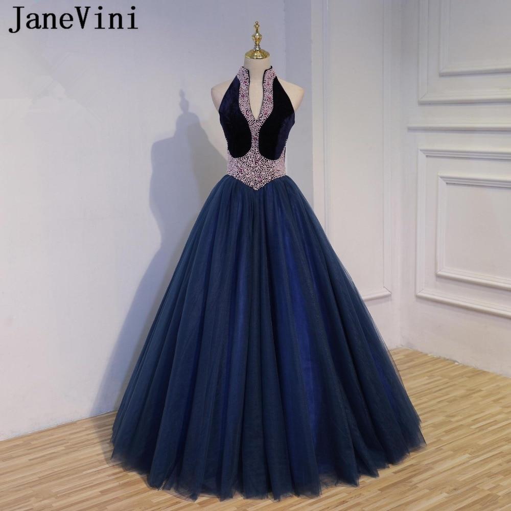 JaneVini Vestidos Luxurious Pearls Crystal Mother of Bride Dress A Line High Neck Navy Blue Evening Dress Vestido De Festa Longo