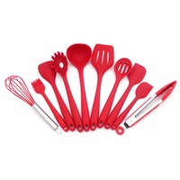 Kitchen Utensils Silicone Cooking Utensils Set Spoon, Ladle, Spatula, Spaghetti Server, Slotted Turner. Cooking Tools 10 Piece