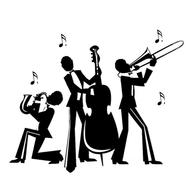 16 2cm13 3cm fashion jazz band music stickers decor car decal silhouette vinyl black