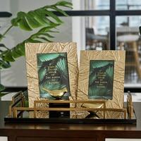 6/7 Inch Simple Golden Leaf Craft Metal Photo Frame Sample Room Side Bed Frame Photo Frame Decoration Ornaments