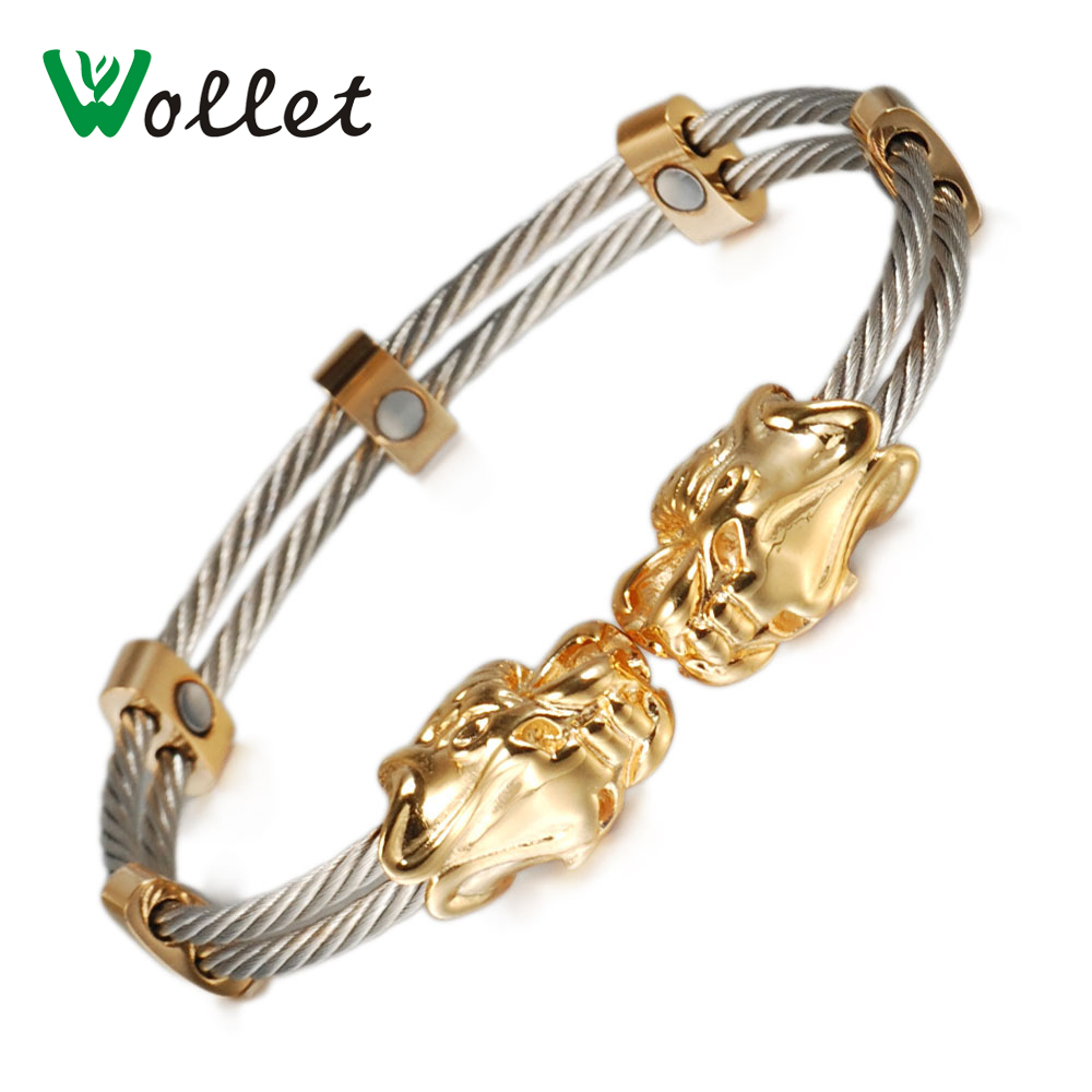 Wollet Jewelry Gold Dragon Head Magnetic Stainless Steel Bracelet Bangle for Women Men Double Row White Wire in Chain Link Bracelets from Jewelry Accessories