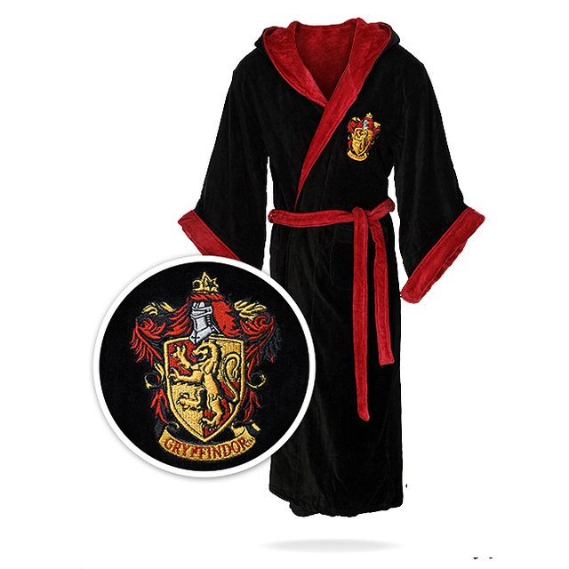 Harry Potter Cosplay Hogwarts School of Witchcraft and Wizardry Coral Fleece Bathrobe Sleepwear Adult Men Pajamas