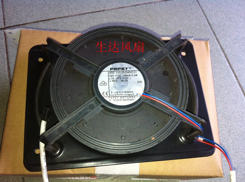 Ebm-For PAPST TYP RDE 110-25/24R/C01 DC 24V 2.4W 2-wire Server Round Cooling Fan