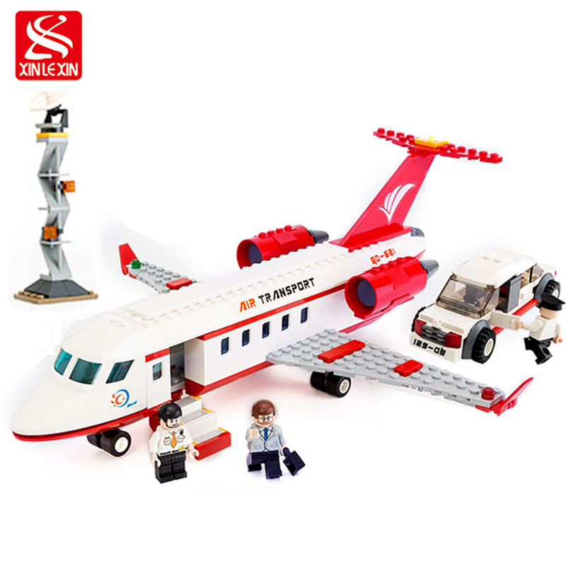 xinlexin 334pcs City Airport Private Jet Plane Blocks Kid Bricks Building Block Sets Educational Toys For Children Gift lepin 02012 city deepwater exploration vessel 60095 building blocks policeman toys children compatible with lego gift kid sets