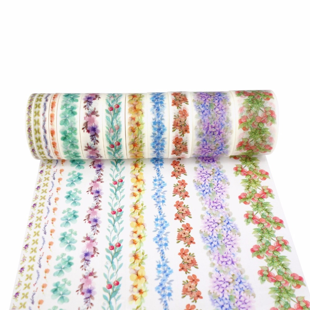 7M Vines Plants Flowers Japanese Decorative Adhesive Washi Tape Diy Scrapbooking Masking Tape School Office Supply colorful gilding hot silver alice totoro decorative washi tape diy scrapbooking masking craft tape school office supply
