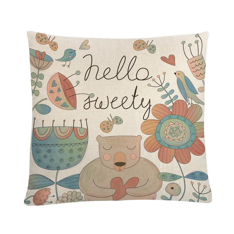 Square Cushion Covers Cartoon Animal Bear Printed Cushion Cases Decorative Pillow Covers For Home Sofa Office Chair Car Seat