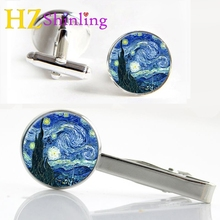 2017 New Van Gogh Painting Clips & Cufflinks Set Glass Cabochon Cufflink Starry Night Over the Rhone Tie Clip Gifts Fans CT-0073