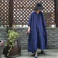 2018 female new spring original design plus size double linen wrinkle loose doll dress