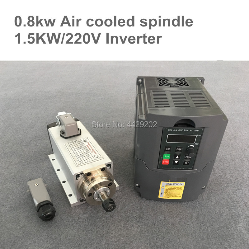 CNC Router Spindle 800W er11 Air Cooled Square belt Spindle Kit 0.8KW Motor + 1.5KW 220v Inverter for cnc parts