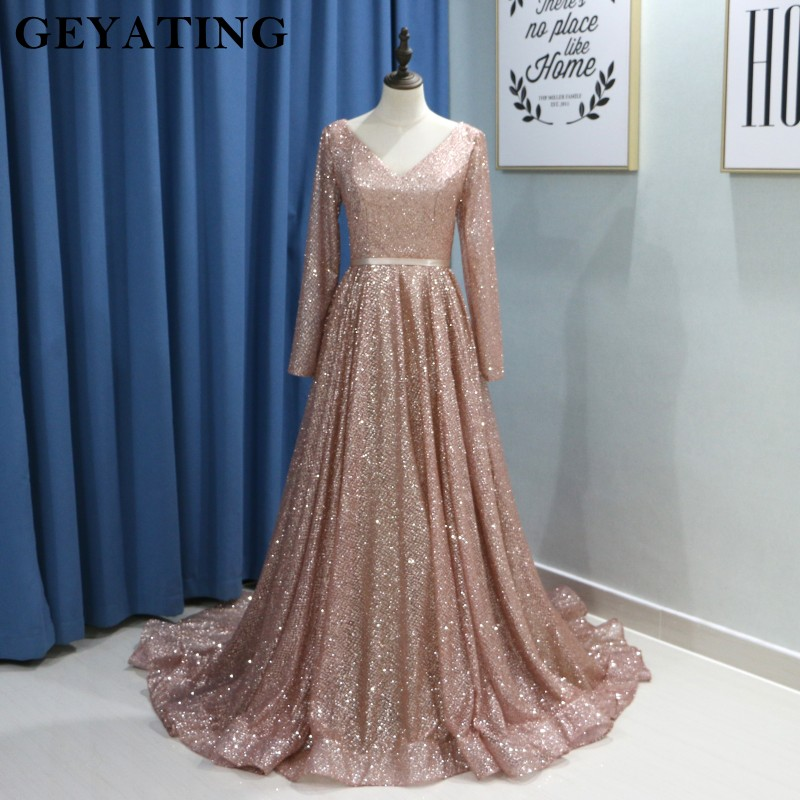 Saudi Arabic Long Sleeve Evening Dress Muslim 2019 V Neck Corset Sequin Gown Vestidos de festa Dubai Women Dresses Evening Party