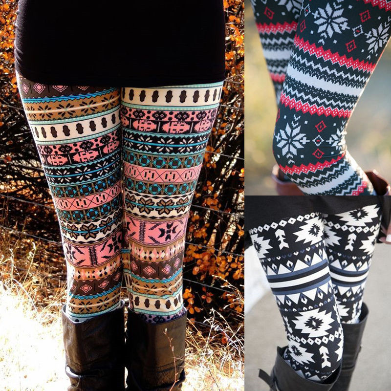 Women Autumn Winter Leggings Clothes Warm Slim Pants Exotic Casual Pants Christmas Snowflake Leggings