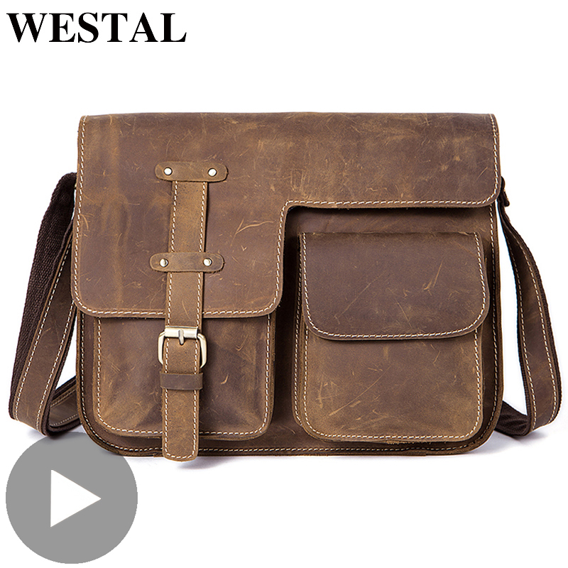 Westal Travel Shoulder Business Messenger Women Men Bag Genuine Leather Briefcase For Document Handbag Male Female Laptop Tablet