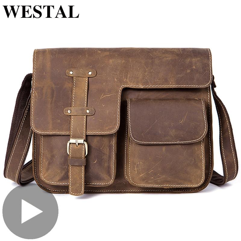 Westal Travel Shoulder Business Messenger Women Men Bag Genuine Leather Briefcase For Document Handbag Male Female Laptop Tablet