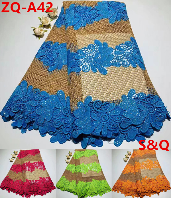 African Lace Fabric 2019 Milk Silk Cord Lace Fabric With Stone 5yards Guipure Lace Fabric Nigerian Lace Fabrics For Dress Zq-a88 For Sale Lace