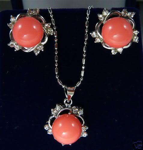 Women's cospay women's Hair full wigs ELEGANT RED CORAL CRYSTAL PENDANT EARRING SILVER SET ^^^@^ GP style Fine jewe Noble Nat