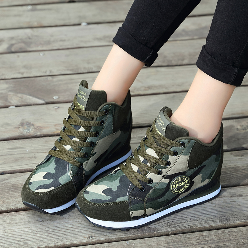 1431413953392 Running shoes for women Increased slope with camouflage wedge hidden heel  sneakers women jogging walking shoes free shipping