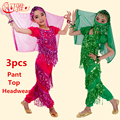 New Belly Dance Costume For Children 3pcs (Top+Pant+Headwear) Sequined Tassels Indian Performance Dance Clothing