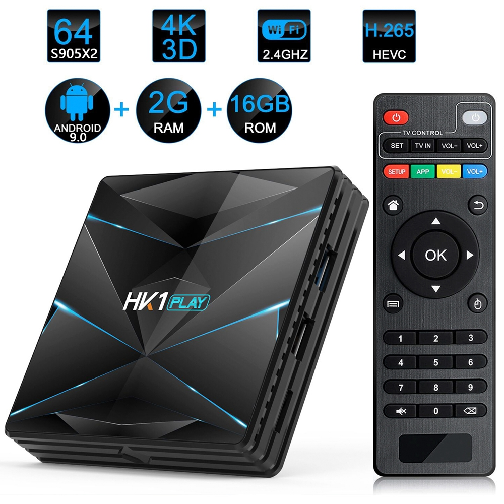 HK1 jugar caja de TV inteligente Android 9,0 Amlogic S905 X2 4 GB DDR3 64 GB máx. 2,4G/5G Dual WiFi USB3.0 BT4.2 compatible con 4 K H.265 reproductor multimedia-in Decodificadores from Productos electrónicos    1