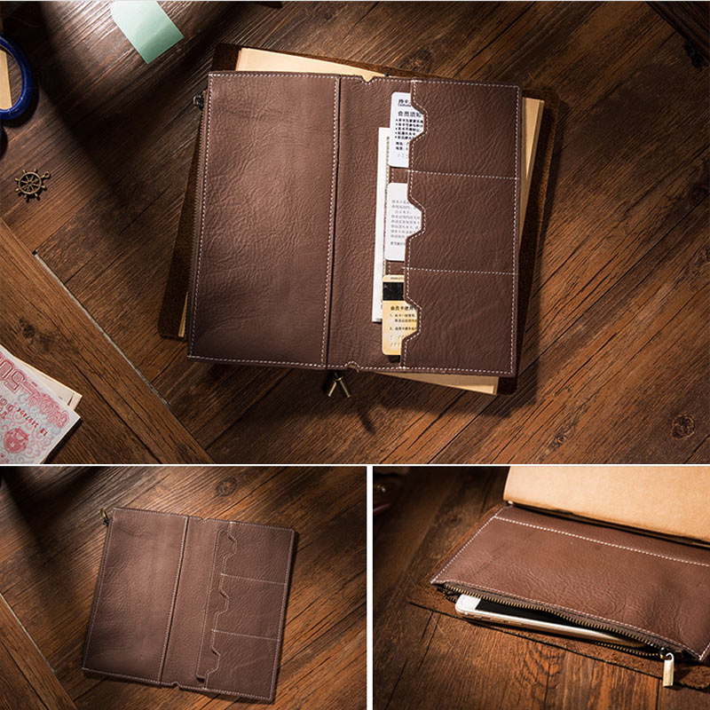 Yiwi Litchi Grain Leather Travelers Notebook Card Bag Storage Bag For Midori Travelers Notebook Vintage Retro Accessories