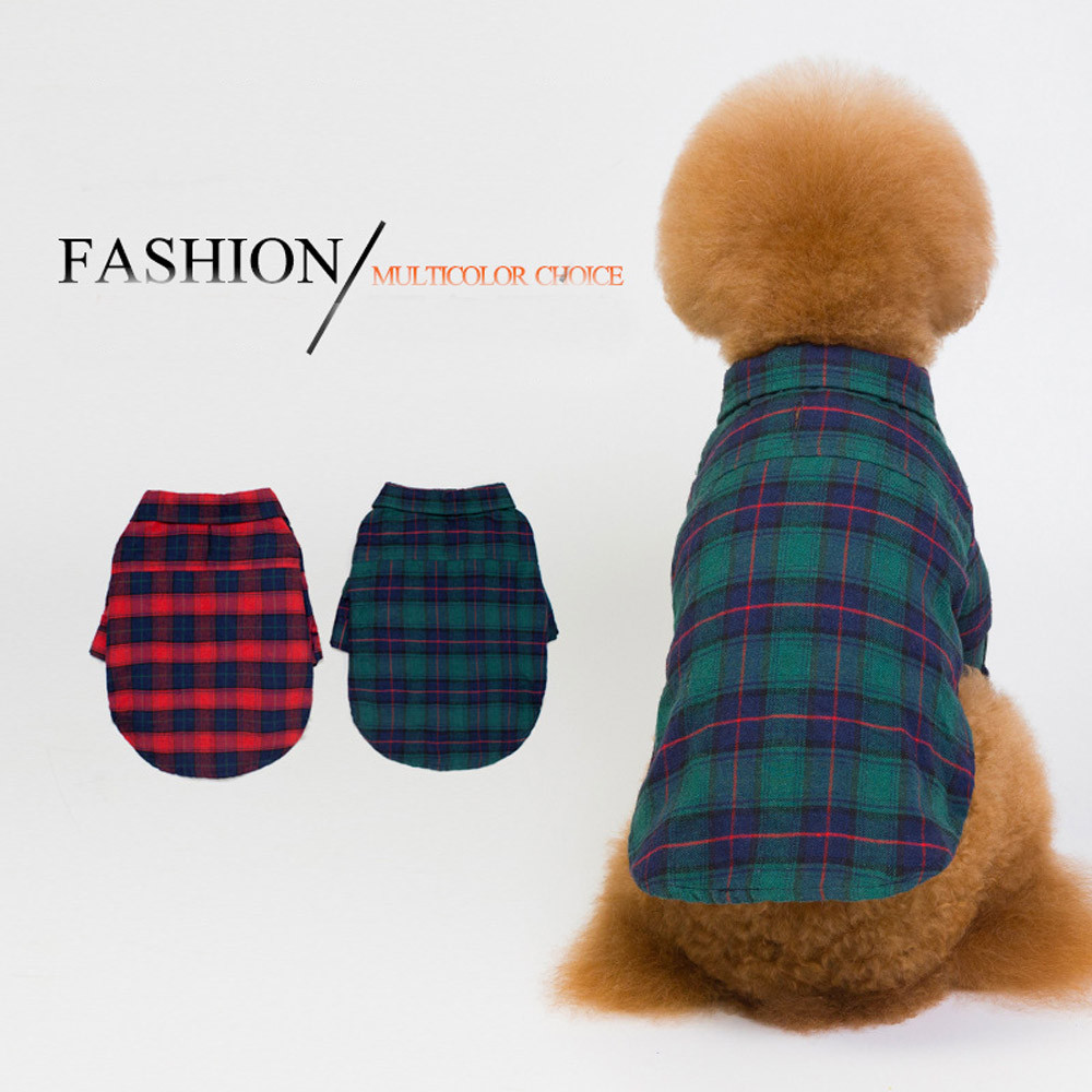 ISHOWTIENDA 1pc pet cloth Pet Clothes Plaid Teddy Dog Shirt Fashion Two-Leg Shirt With Traction Hole For Small Medium Large Dogs