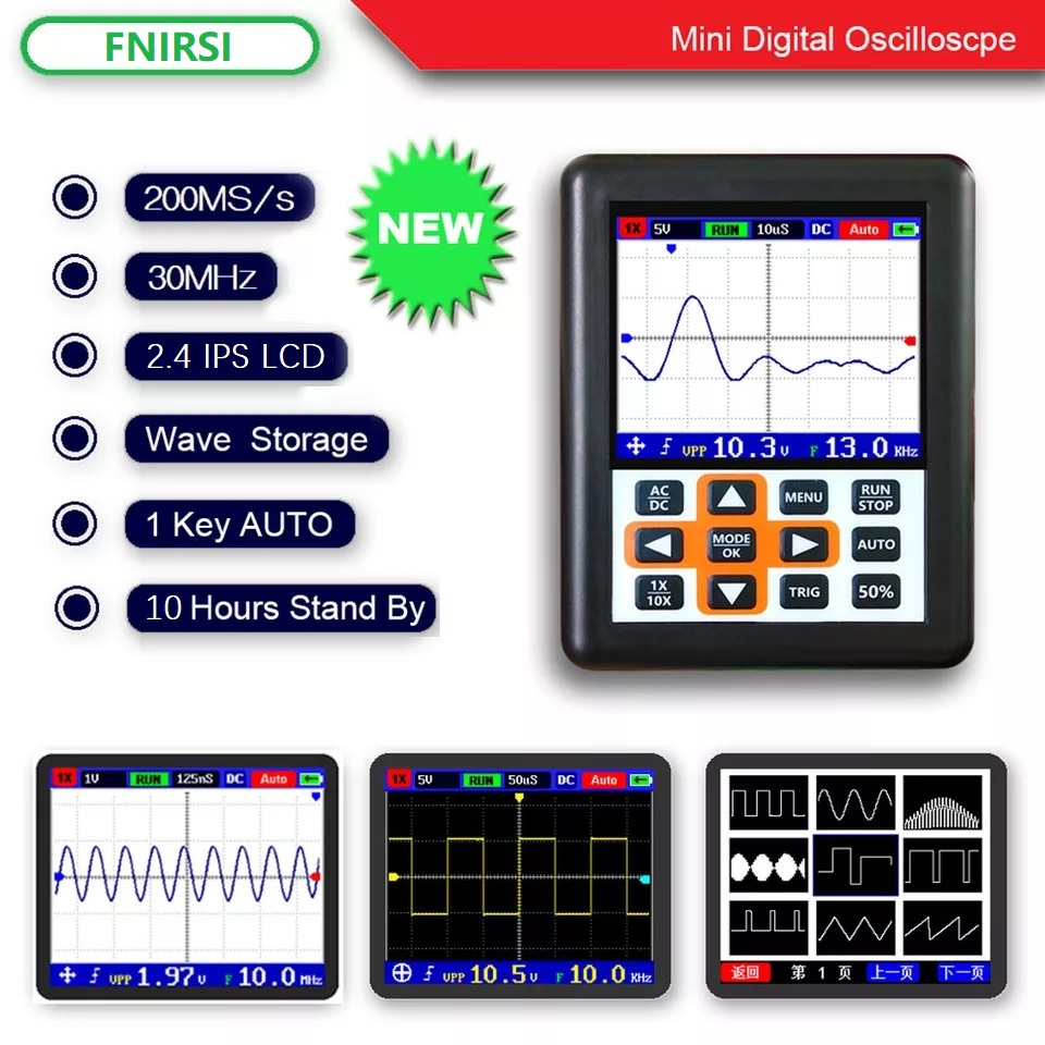 DSO FNIRSI Handheld mini portable digital oscilloscope 30M bandwidth 200MSps sampling rate IPS display