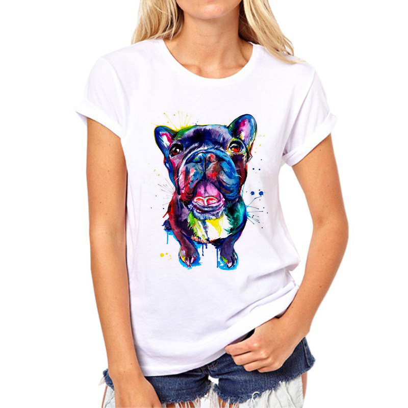 Hot koop Stained dog gedrukt vrouw t-shirt zomer Bulldog / Great dane Print Tops Mode Meisje Tshirt Tee Shirt Femme 97N-1 #