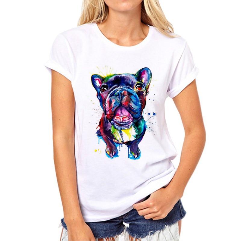 Venta caliente Perro manchado impreso camiseta de la mujer Bulldog de verano / Great dane Imprimir Tops Moda Chica Camiseta Camiseta Femme 97N-1 #