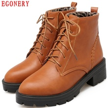 EGONERY Casual Square Heels Non-Slip Bottom Platform Lace Up Block Chunky Gothic shoe Riding Ankle Boots Womens Shoe