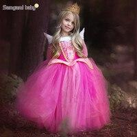 SAMGAMI BEBÊ 2018 Meninas Europeus e Americanos Primavera e Outono Amo Luo Princesa Dormir Beleza Traje Vestido Crianças Vestidos