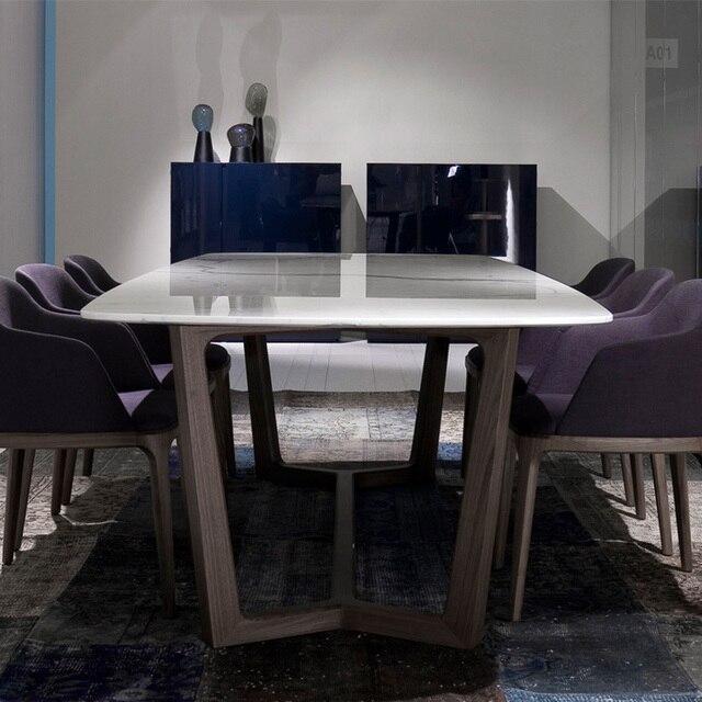Madera maciza mesa de comedor mesa de comedor de mármol IKEA Nordic ...
