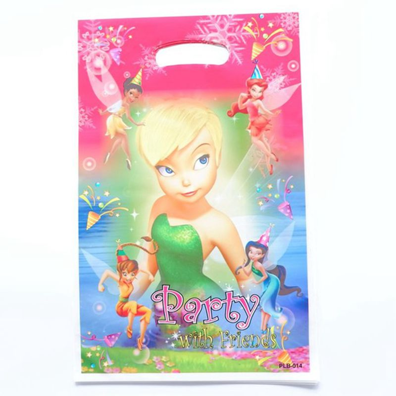 20 stks/partij Cartoon Tinker Bell Gift Bag Party Decoratie Plastic Snoep Tas Loot Tas Voor Kids Birthday Party Decor Levert title=