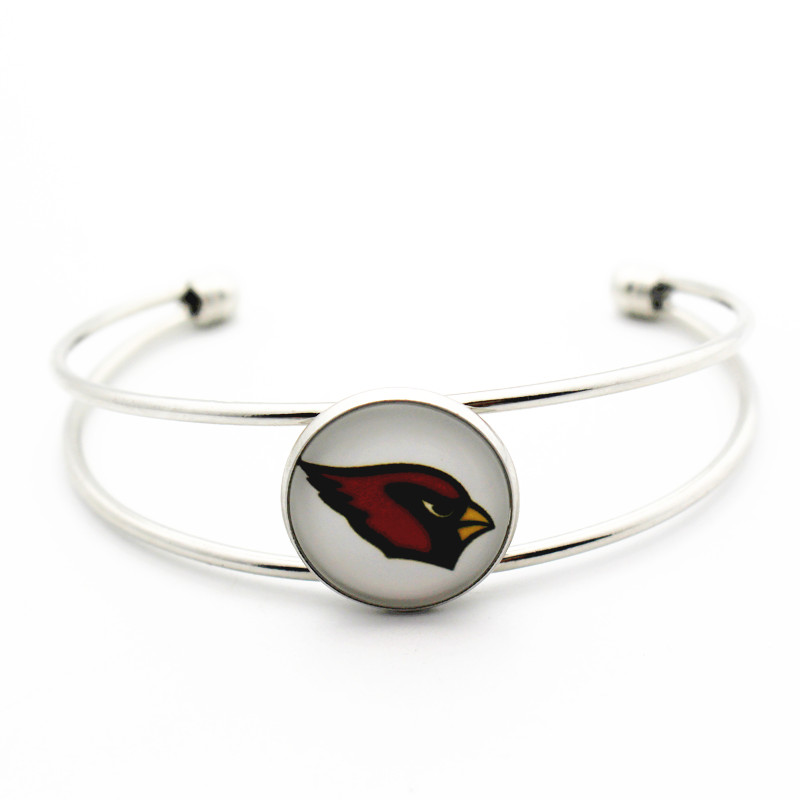 Hot selling 1pcs/lot Football Bracelet glass USA Arizona Cardinals Team Sports Copper Charms Alloy expandable Silver bracelets