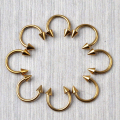 Wholesale 10pcs/lot 316L Gold Horseshoe Bar Lip Nose Septum Ear Barbell Ring Spike Cone Circular Rings Body Piercing Jewelry