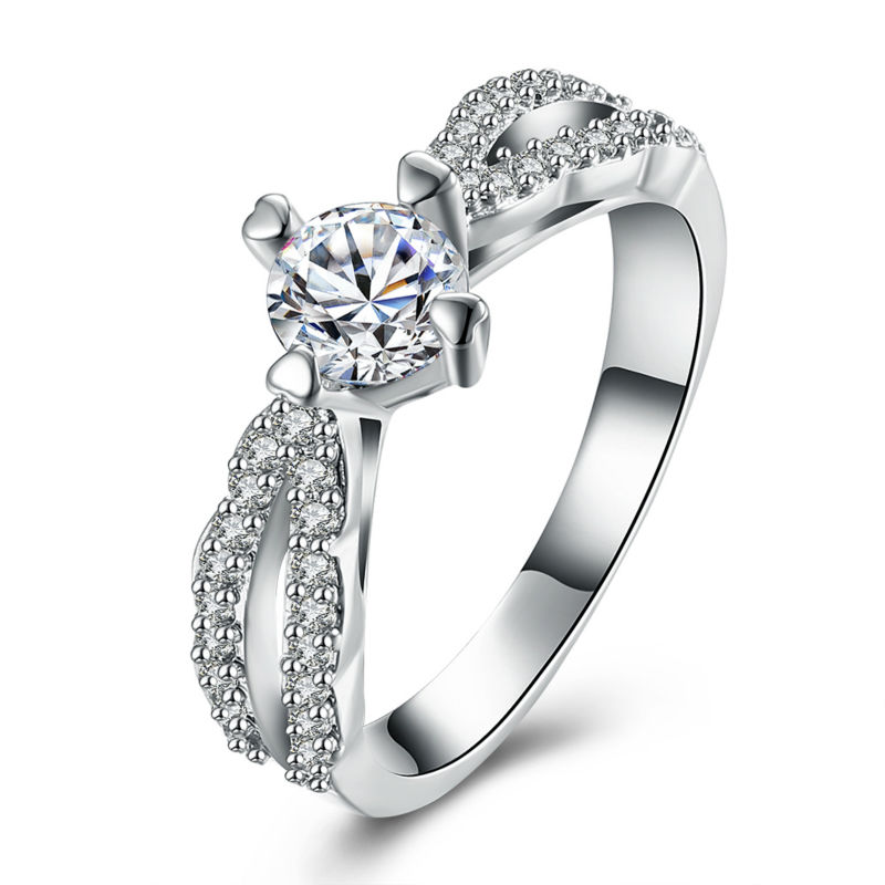 New Design and Luxury Silver Bling Bling Round Cubic Zircon Infinity Carter Ring For Women Bridal Wedding Engagement Jewelry