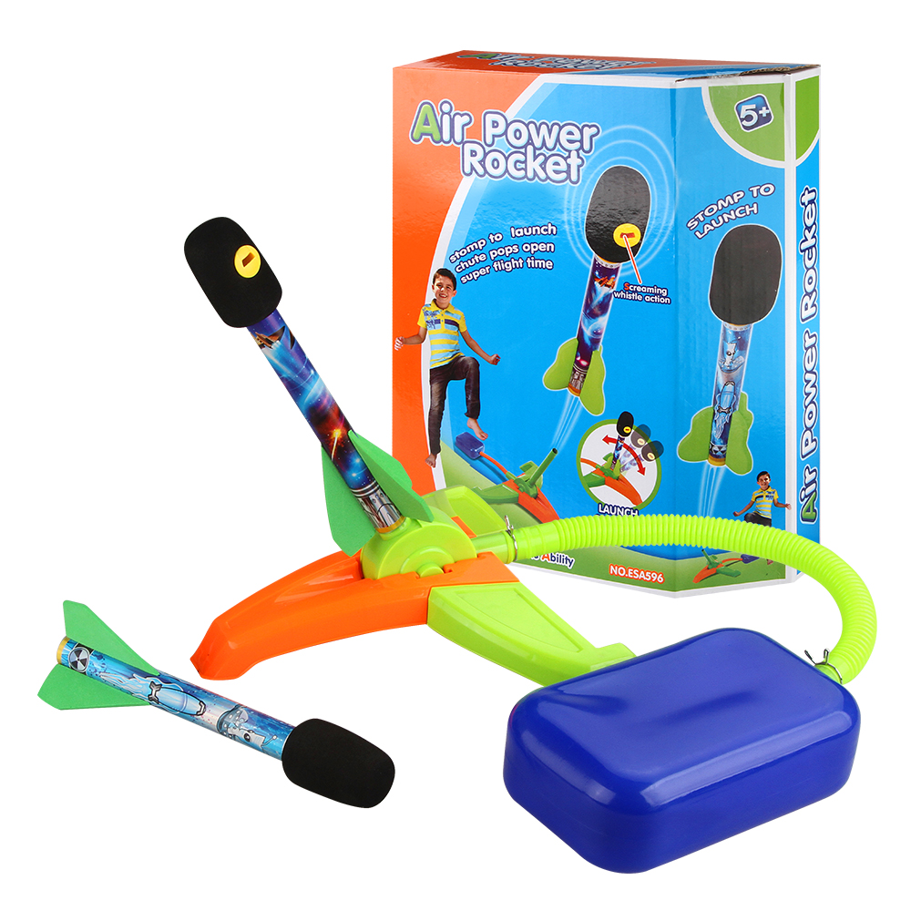 Jump Air Rocket Launcher Toy Set Missile Launcher Model Step Pump Foot Toy With Outdoor Sport Toys Parents Children Kids Games