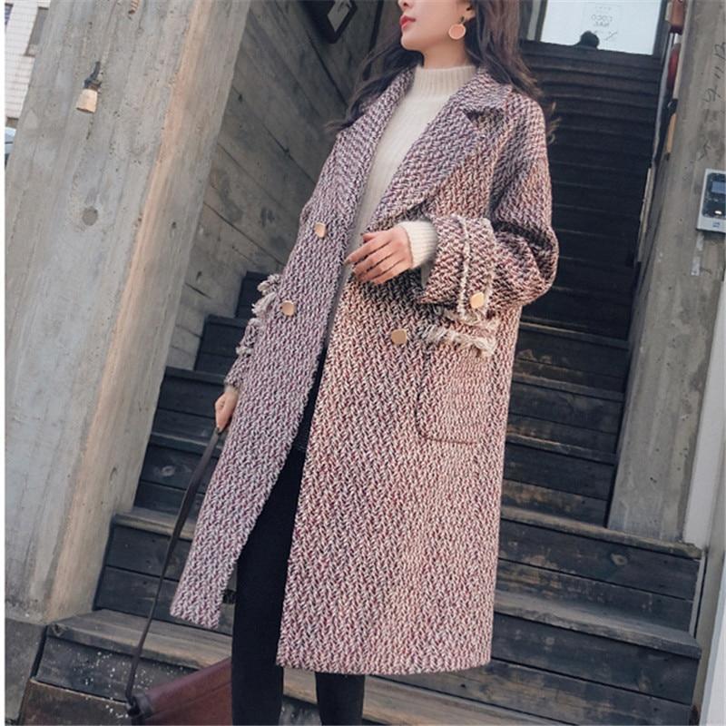 Il Modo Plaid Di Nappa Donna Lungo Casual Formato Cappotto Coreano Cappotti Nuovi 2018 Stile Lana Più Inverno 8wq6w5Y