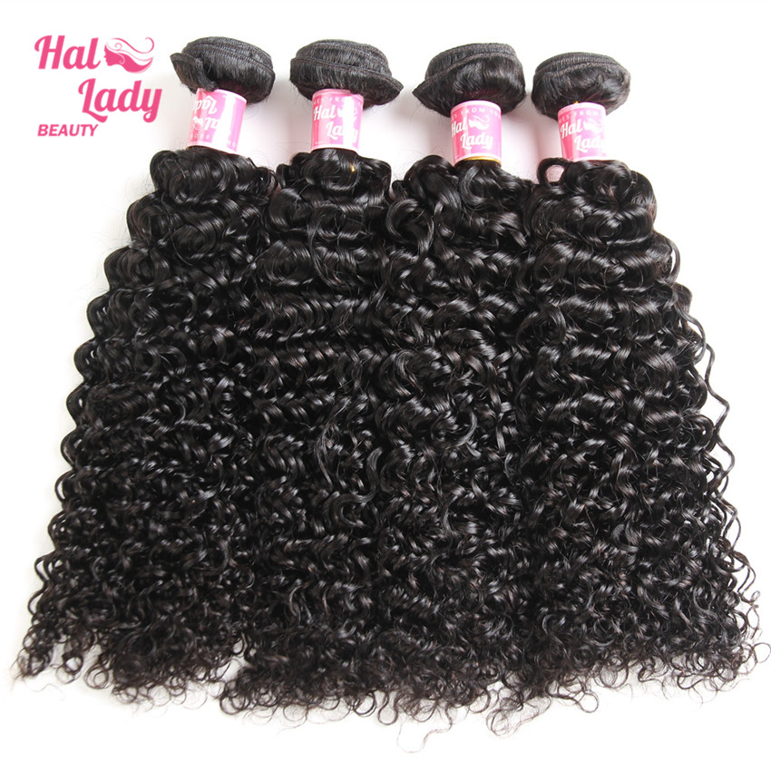 Halo Lady Beauty 4 Bundles Brazilian Kinky Curly Human Hair Extentions 8 to 24inches Remy Hair Weaves 1B DHL Free Shipping
