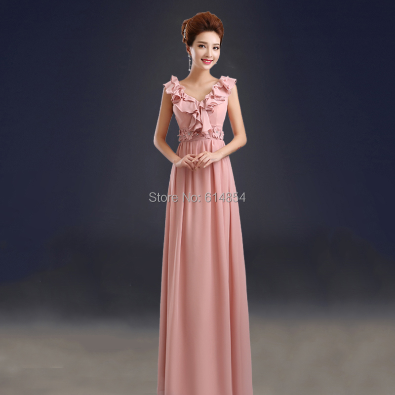 d9a6372cae3 2015 New Arrival Long Dark Pink Chiffon Bridesmaid Dress Bandage Elegant  Wedding Sister Dress 5 Designs Free Shipping