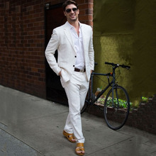Ivory Linen Slim Fit Summer Men Suits 2019 Beach Wedding Tuxedos Groom Wear 2 Pieces (Jacket+Pants) Casual Bridegroom Blazer