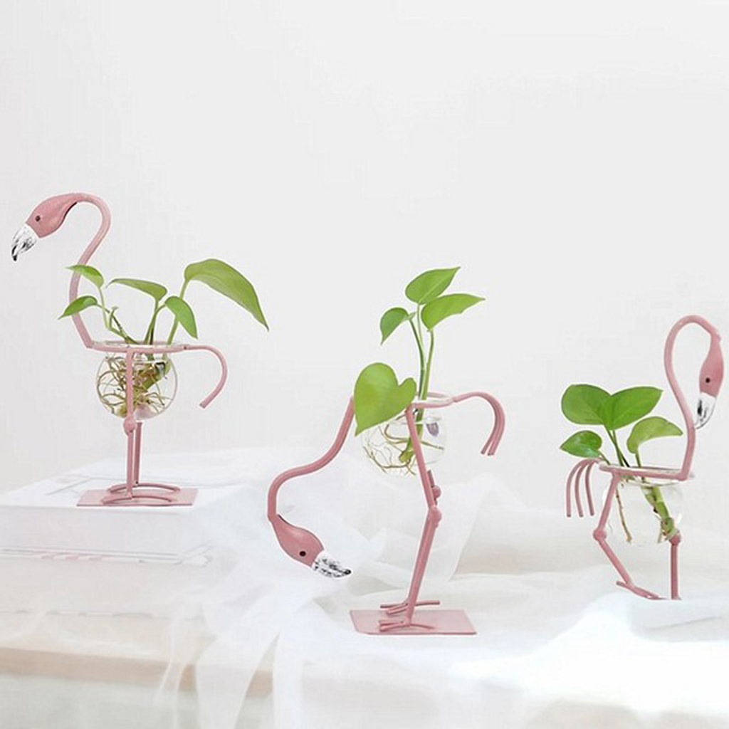 Flamingo Shape Clear Glass Flower Plant Vase Container Flower Pots  For Bedroom Living Room Office Decor