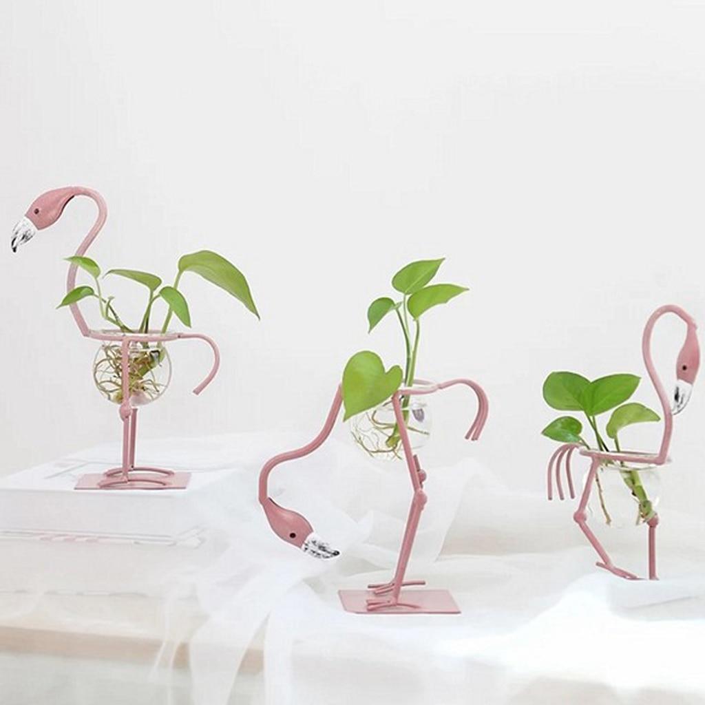 Flamingo Shape Clear Glass Flower Plant Vase Container Flower Pots  For Bedroom Living Room Office Decor