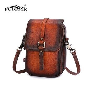Women Shoulder Genuine Leather Fashion Bag Cell Phone Pocket Interior Zipper Female Crossbody Bag Vintage Soft Mini Lady Bag