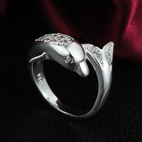 Lose Money Promotions!Hot Dolphin Gifts  Wedding Rings 925 Silver Jewelry Fashion Silver Plated Ring For Women Birthday Gift