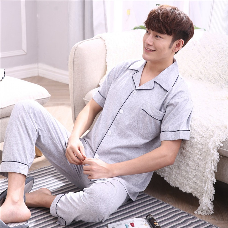 100% Cotton Pajama Sets For Men 2019 Spring Summer Short Sleeve Soft Comfortable Sleepwear Suit Homewear Loungewear Home Clothes
